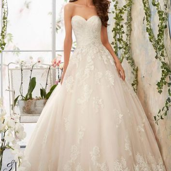 Blu by Mori Lee 5406 Strapless Beaded Lace Ballgown