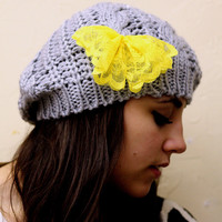 Yellow Bow Beanie Hat- Gray, Smoky, lace bow , Cable Knit, Knitted, Crochet, Christmas Gift.