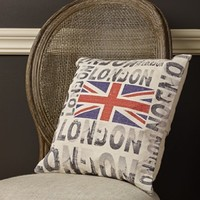 London Union Jack - Vintage Eco Inspired Canvas Throw Pillow - 16-in