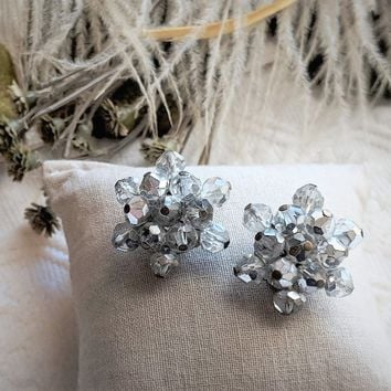 Vintage Multi Faceted Rare Silver Crystal Beaded Clip-on Cluster Earrings