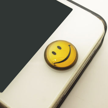 1PC Retro Epoxy Smile Face Transparent Time Gems Alloy  Cell Phone Home Button Sticker Charm for iPhone 4s,4g,5,5c Kids Self Encourage Gift