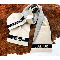 DIOR Autumn And Winter Fashion New Letter Print Women Men Keep Warm Cap And Scarf Beige