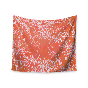 "Iris Lehnhardt ""Twigs Silhouette Coral"" Orange Wall Tapestry"