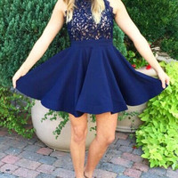 Navy Blue Lace Short Homecoming Dresses