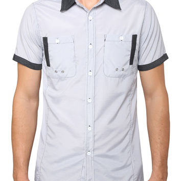 Mens Short Sleeve Button Down Check Shirt with Pocket