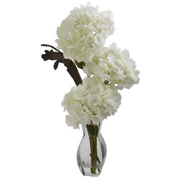 Silk Flowers -Triple Hydrangea With Vase Artificial Plant