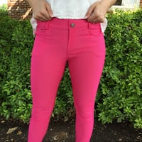 Walk this way Jeggings - Fushia
