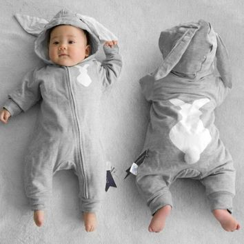 Baby Girl Boy Rabbit 3D Ear Zipper Hooded Romper Jumpsuit Outfits Clothes Jumpers Grey/Blue Winter Warm Newborn Baby Clothes