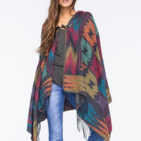 Woven Hearts Hooded Ethnic Womens Poncho Multi One Size For Women 26367295701