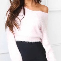 Pink Off Shoulder Fluffy Long Sleeve Knit Jumper