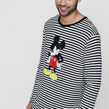 Disney Long Sleeve Stripe Tee With Mickey Print | Boohoo