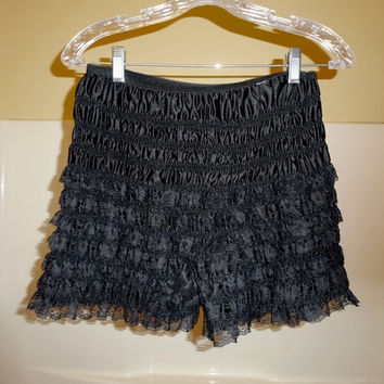 1980s Vintage Square Dance Lace Ruffle Lady's Bloomers or Panties in Black, Size Medium, Vintage Square Dance Costume Dress, Can Can