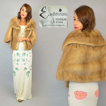 vtg 50's genuine HONEY MINK FUR wedding stole capelet bolero, extra small-medium