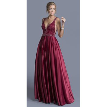 Burgundy Deep V-Neck and Back Beaded Long Prom Dress
