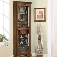 Rich deep brown finish wood corner curio glass front cabinet with glass shelves and flat top