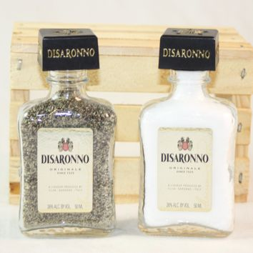 Salt & Pepper Shaker from Upcycled Glass Disaronno Mini Liquor Bottles