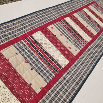 Americana Patriotic Quilted Table Runner - 4th of July Quilt