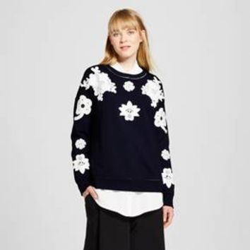 Women's Navy and White Floral Lace Appliqué Sweat Top - Victoria Beckham for Target