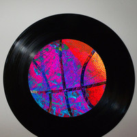 Recycled Basketball Art, Modern Sports Artwork, Upcycled Mancave Home Decor, Unique Contemporary Artwork, Record Art, Basketball Decor