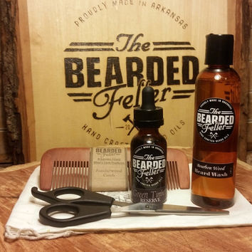 Bearded Fellers's Travel Beard Kit - Starter kit includes Beard Oil,  BourbonWood Beard Wash, Barber Shears, Comb, 2 Travel bags