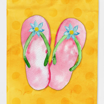 Pink Flip Flops Yellow Polkadot Flag Canvas House Size BB8222CHF