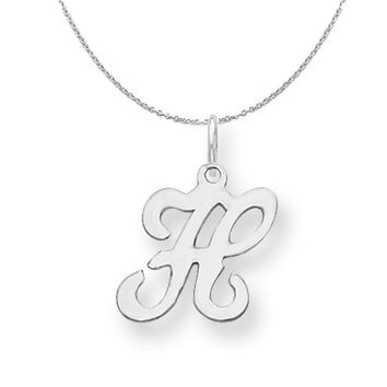 Sterling Silver, Sophia Collection, Small Script Initial H Necklace