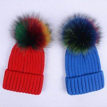 Adult Fluffy Casual Knitted Hats Women Thick Warm Bobble knit Beanies Skullies With Colorful 15cm Genuine Fur pom poms Caps