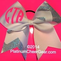 Monogram Chevron Bow - Platinum Cheer Gear