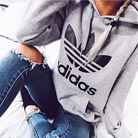 """Adidas"" Women Fashion Hooded Sweater Pullover F"