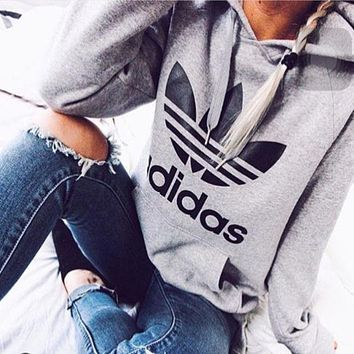 """""""Adidas"""" Women Fashion Hooded Sweater Pullover F"""
