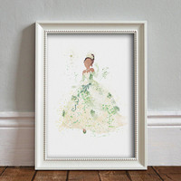 Tiana, Princess and the Frog WATERCOLOR Art illustration, Disney Princess, Wall Art, Nursery, Digital Poster Print, INSTANT DOWNLOAD