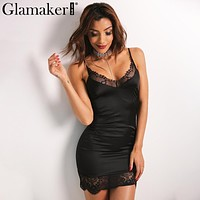Glamaker Sexy sleeveless elegant satin dress women Lace evening party dress sundress Summer dress short dress vestidos