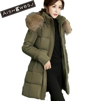 AISHGWBSJ 2017 Women's Jacket Warm Cotton Padded Long Snow Coats Femlae Thicker Hooded Parkas Fur Collar Overycoats PL151