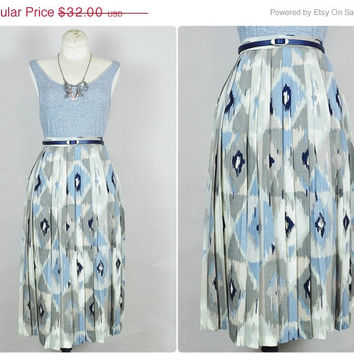 30% OFF SALE neutral blue grey navy taupe southwestern boho print high waist pleated midi skirt vintage 1980s