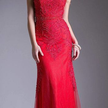 Red Appliqued Long Formal Dress Cap Sleeved