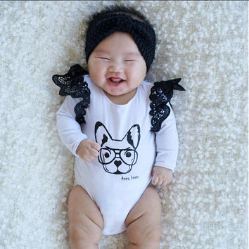 Autumn Baby Clothes Newborn Infant Romper Fashion Girls Puppy Print Cotton Ruffles Long Sleeve Baby Rompers Cute Girls Clothing