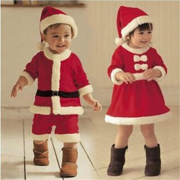 Baby Christmas Santa Claus fleece lining romper + hat