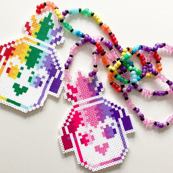 Nervo logo rainbow perler kandi necklace, rave edm kandi perler necklace