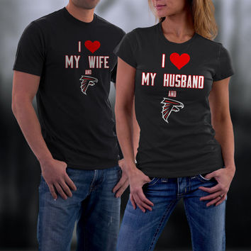 Falcons,Atlanta Falcons Couples Shirt,  Falcons Matching Couples tshirts,I love my Husband and the Falcons Shirt,Wedding T Shirts