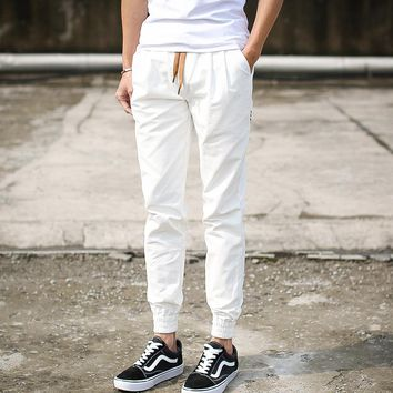 Summer Mens White Joggers Pants Male Casual Solid Khaki Skinny Long Harem Hip Hop Trousers Man Cotton Cuffed Pants M-3XL