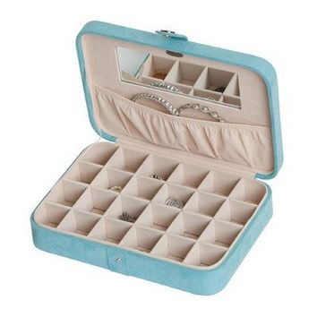 Mele Jewel Cases Maria Plush Fabric Twenty-Four Sections Jewelry Box (Blue)