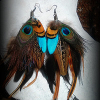 Long feather earrings, peacock feather earrings, grizzly feather earrings, dangle earrings, feather, turquoise, pheasant, organic, tribal