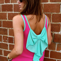 Fuchsia + Mint Bow Tank | The Rage