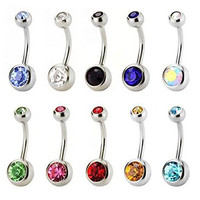 SingDV(TM) Lot of 10pcs 14G Stainless Steel Belly Button Ring Body Jewelry Piercing Silver (A-Silver(Double Multicolor Crystal))