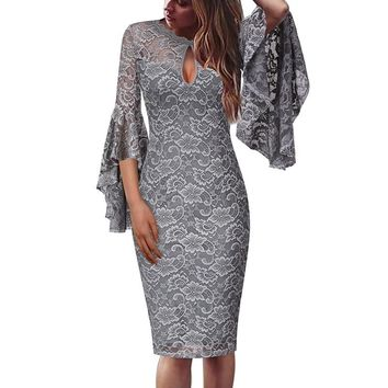 Womens Sexy Keyhole Front Floral Lace Ruffle Flare Bell Sleeve Cocktail Wedding Party Club Slim Bodycon Sheath Dress