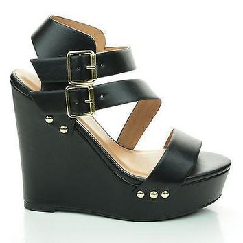 Mentha Black By Soda, Platform Wedge Sandal w Metal Stud Detail. Women Shoes