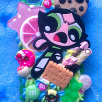 READY TO SHIP, Inspired by The Powerpuff Girls, Buttercup Decoden Snap On Phone Case for the iPhone 4G :3