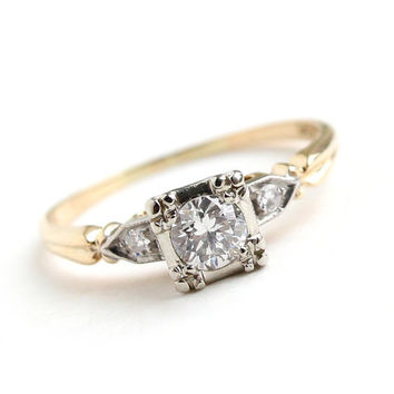 Antique 14K Yellow & White Gold 1/4 Carat Diamond Ring - Size 6 Vintage Art Deco 1940s Engagement Fine Jewelry / Triple Diamonds