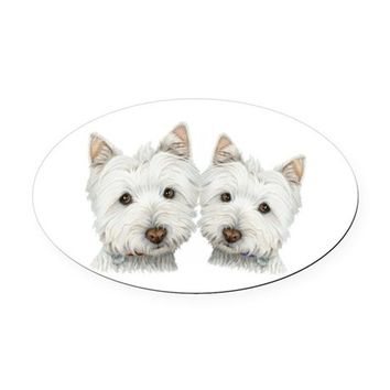 TWO CUTE WEST HIGHLAND WHITE DOGS OVAL CAR MAGNET