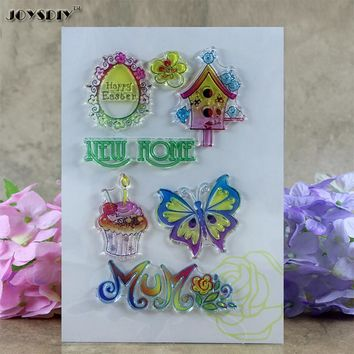 New Home Happy Easter Scrapbook DIY photo cards account rubber stamp clear stamp transparent stamp  15*13 CM